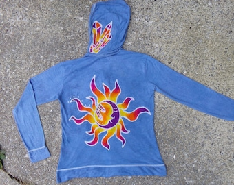 Flaming crystal moon hoodie