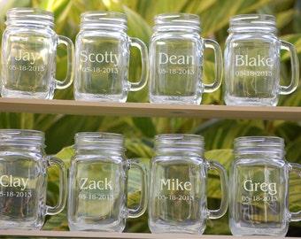 8 Wedding Party Personalized Mason Jar Mugs, Wedding Favors Mason Jar Glasses, Groomsmen Gift, Bridesmaid Gift, Wedding Party Gift Mason Jar