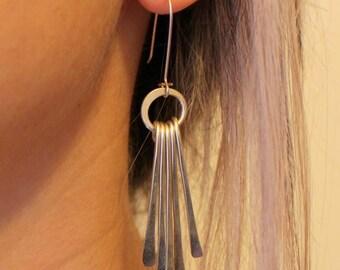 Dangle Long Stick Earrings - Handmade Hammered Gold - Silver Earrings