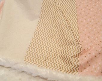 Metallic Gold and Pink Chevron Minky Baby Blanket
