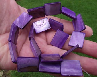 4 RECTANGLE 20 X 15 X 3 MM PURPLE SHELL BEADS.