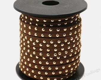 2 yards Brown Suede Cord - Gold Rivets Microfiber Faux Gold Studded Suede Cord - 5mm x 2mm - 6 feet -  Jewelry making  Cord -W093