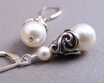 White Swarovski Pearl Teardrop Earrings on Sterling Silver Leverbacks. Wedding. Bridal. Elegant. Simple. Classic. Cone.