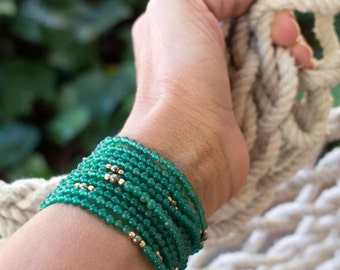 Emerald Green and Gold Wrap Bracelet
