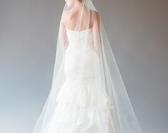 Mantilla Veil with No Lace, Cathedral Veil, Chapel Veil, Wedding Veil, Cascade Veil, Single Tier Veil, STYLE: MIA