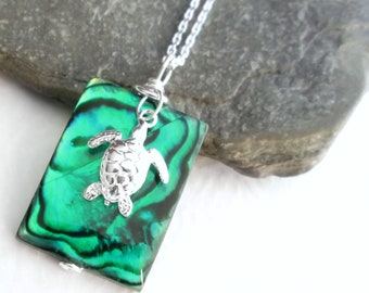 Green Abalone Shell Necklace, Tropical Island Jewelry, Silver Turtle Charm, Seashell Pendant