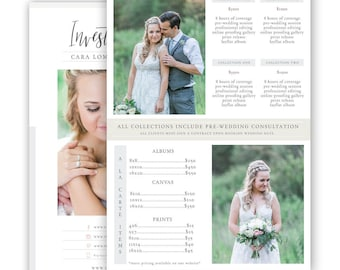 Photography Price List Template, Photography Pricing Guide, Photography Sell Sheet, Price Guide, Wedding Pricing Template