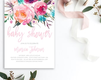 Floral Baby Shower Invitation, Pretty Baby Shower Invite, Florals