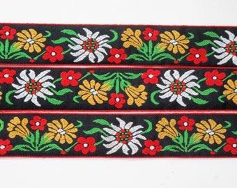 "Jacquard Ribbon, Vintage Ribbon, Vintage Trim, Sewing Trim, Edelweiss Trim, Floral Trim, Tyrolean Ribbon, Woven Ribbon, 1 1/2"" wide, 3 yards"