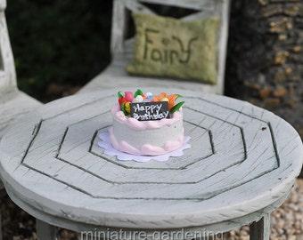 Happy Birthday Cake for Miniature Garden, Fairy Garden