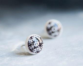 Black And White Earrings, Tribal Jewelry, Tribal Earrings, Everyday Earrings, Hipster Jewelry, Earring Studs, Small Earrings, Mens Earrings