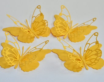 Set of 10 - -Bright Yellow - - Vivienne Butterfly Punches, Die Cuts, Embellishments
