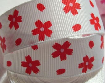 Printed Ribbon - white background red flower * 22 mm * sold by the yard