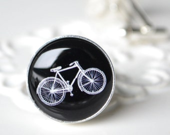 Vintage Bike Cufflinks - Stainless Steel Black and White Bicycle Cuff Links