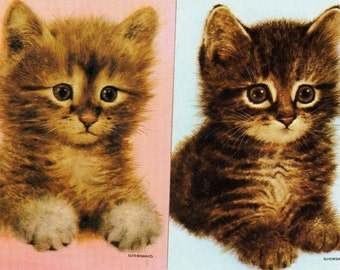 Vintage Single Swap Playing Cards (1 pair) Paper, Collectibles, Kittens, Scrapbook Supplies, Journal Supplies, Crafting