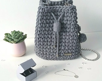 Grey 100% handmade handbag made of cotton yarn! Suitable for every outfit!