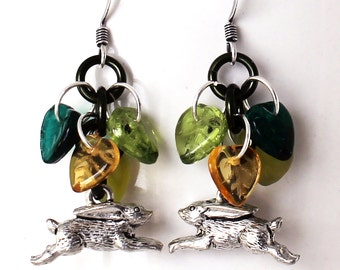 Leaf Cluster Earrings - Green and Golden Yellow Leaves, Running Rabbit Pewter Charms, Czech Glass Beads, Autumn / Fall Colors, Bunny Dangles