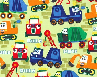 Michael Miller Cars Print/Little Movers - Build More/Cotton/Sewing/Fabric/Quilting