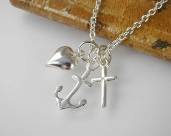 Faith Hope Love Necklace , Easter Gift , Heart Anchor Cross Charm Baptism Gift Confirmation Communion Gift Jewelry Sterling Silver