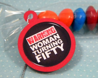 50th Birthday Candy Treat Bag Favors - Warning Woman Turning Fifty Set of 12