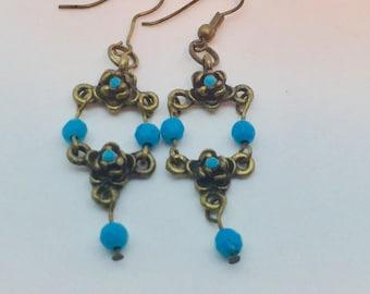 Turquoise Brass Drop Earrings