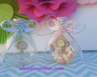 communion favors/first communion,holygrail/printing ribbon/personzlized/boy/girl/gold/candy container ( candies not included)