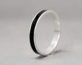 Black Tourmaline Ring, Sterling Silver Ring, Thin Silver Ring, Inlay Ring, Black Ring, Silver Band, Metaphysical Ring, Meditation Jewelry