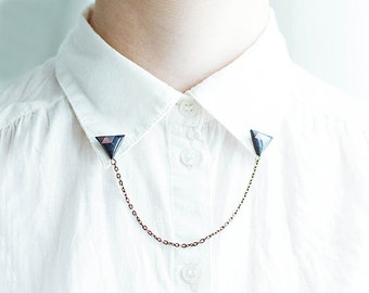 Navy blue triangle collar brooches, collar chain, geometric brooch, unique gift for her