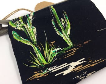 Black and Green Cactus Zipper Pouch Coin Purse Mini Makeup Bag // gifts for her // stocking filler