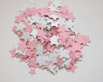 Handmade star shaped table confetti in pink and white