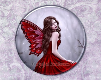 Winter Rose Fairy with Butterflies Pocket Mirror