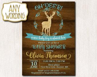 Oh deer baby shower invitations, Rustic Baby Sprinke Invitation, Spring Baby Boy Shower invitation, Baby Sprinkle invitation - 0068