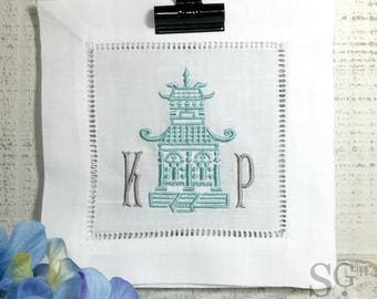 Chinoiserie PAGODA MONOGRAM Cocktail Napkins. Set of 4 Embroidered Linens. Wedding Gift. Bar Cart Accessories. Stock the Bar Party.