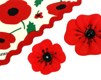 Felt Poppy Brooch, Remembrance Day, Flower Brooch, Christmas Felt Flower Brooch, Handmade Brooch