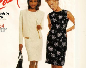 A Princess Seam, Semi-Fitted Sleeveless Dress and Cardigan-Style Jacket Pattern for Women: Uncut - Sizes 14-16-18-20 ~ Stitch 'n Save 2554