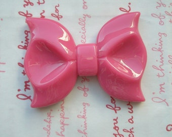 Dollar SALE Huge  Hot pink bow cabochon 1pc ME