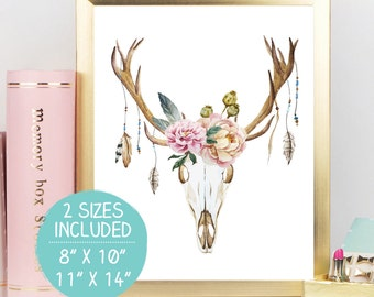 Watercolor Deer Head, Deer Skull, Boho Wall Art, Deer Skull Print, Tribal Nursery Art, Deer Art, Boho Printable, Tribal Feather Print