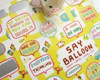 Say Balloon Stickers / Map of Yellow Street - 2 sheets (4.7 x 7in)