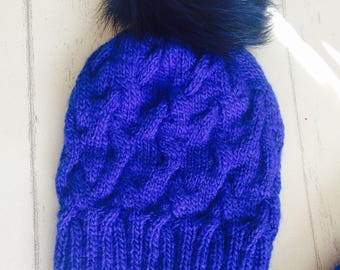 Blue Hat with Fur Pom Pom, Cable Hat, Knitted Beanie, Hat With Pom Pom, Royal Blue Beanie, Valentines Gift For Her.