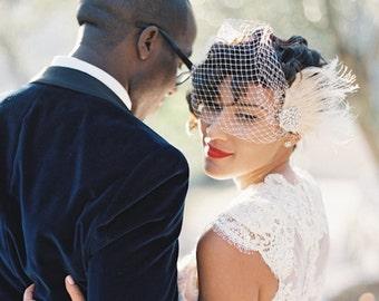 Hochzeit, Haarspange, Braut Fascinator, Französisch Net Brautschleier, Hochzeit Fascinator, Feder-Haarspange, Elfenbein Hochzeit Fascinator, Brautschleier