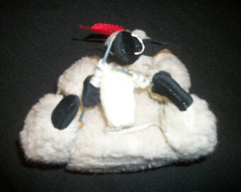 Retro 90s Does Big Stuffed KNITTING SHEEP w GLASSES, Animal Toy Decor