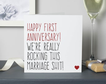 Funny first wedding anniversary card for husband or wife, 1 year anniversary gift, We're really rocking this marriage s**t