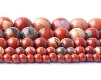 Natural Red Jasper Beads, Loose Gemstone Beads, Smooth Round Stone Beads 6mm 8mm 10mm 15'' Strand