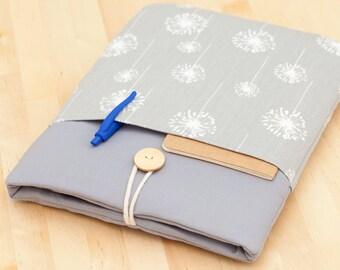 Samsung Galaxy Tab sleeve cover, Galaxy Tab 4 10.1 case / Note 8.0 / Galaxy Tab 4 8.0 / Galaxy Tab S2  - grey dandelion
