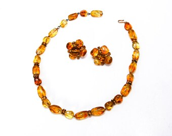 Amber Art Glass Rhinestone Necklace Earring Set Vogue Jewelry  Demi Parure