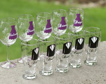 Wedding party glasses, wine glasses and beer pilsner glasses.  Bridesmaid gifts Groomsman gifts.  Plum purple dress and tux glasses. 1 glass