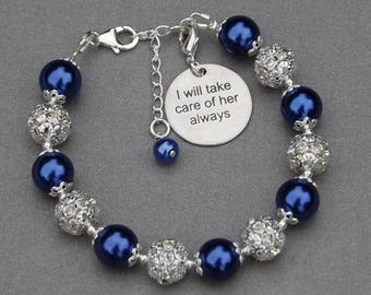 Mother of the Bride Jewelry, Mother of the Groom, I will take care of her always, Mother in Law to Be Gifts, Wedding Keepsake