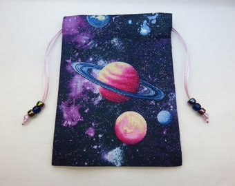 Purple Cosmos Celestial Silk Lined Tarot Card Pouch, Tarot Card Bag, Handmade