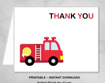 Printable Firetruck Fire Truck Engine Red Black Thank You Cards Children Kids Birthday Party Thank You Cards ~ DIY Instant Download