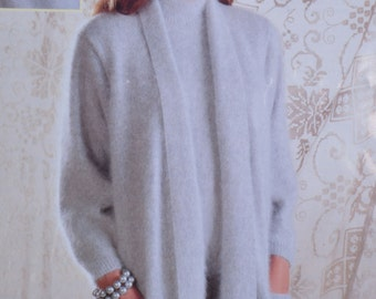 Vintage knitting pattern cardigan beret short sleeve sweater lady's pdf download pattern only pdf 1980s